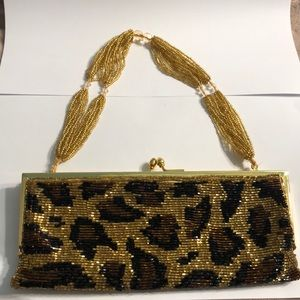 Valerie Stevens leopard beaded evening clutch